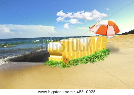 Summer 3d text placed on the beach