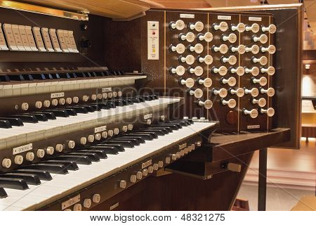 Church Pip Organ Keyboard with Control Buttons Closeup Macro poster