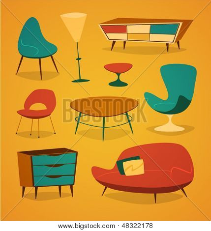 Retro styled modern furniture. Household series vector illustration.