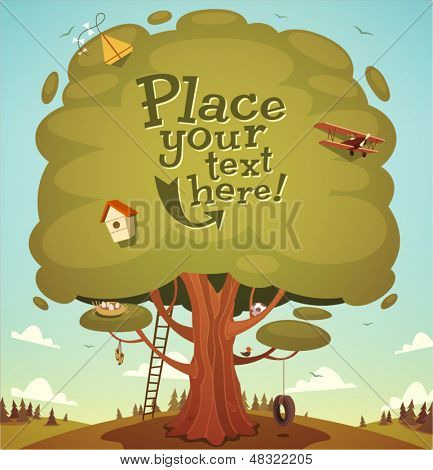 Summer tree background. Vector illustration.