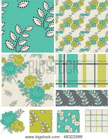 Modern Floral Quilt Vector Patterns.  All are seamless so they are great to use as swatches and fills.