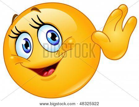 Female emoticon waving hello