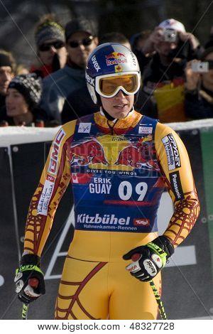 KITZBUHEL TIROL, AUSTRIA - JAN 24 2009; Kitzbuhel Tirol Austria, Erik Guay (CAN) competing in the Hahnenkamm race  the men's downhill ski race part of the Audi FIS Alpine Ski  World cup.