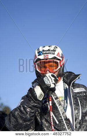 KITZBUHEL TIROL, AUSTRIA - JAN 24 2009; Kitzbuhel Tirol Austria, Aksel Lund Svindal (NOR) at the Hahnenkamm race  the men's downhill ski race part of the Audi FIS Alpine Ski  World cup.