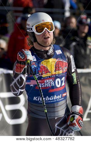 KITZBUHEL TIROL, AUSTRIA - JAN 24 2009; Kitzbuhel Tirol Austria, Erik Fisher (USA) competing in the Hahnenkamm race  the men's downhill ski race part of the Audi FIS Alpine Ski  World cup.