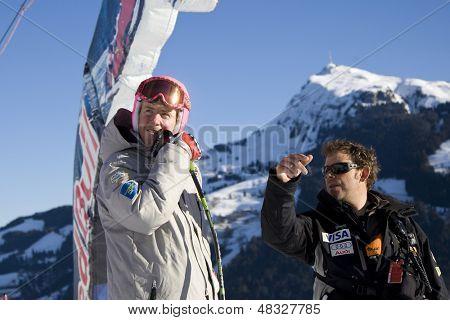 KITZBUHEL TIROL, AUSTRIA - JAN 24 2009; Kitzbuhel Tirol Austria, Ted Ligety (USA) gets advice from his coach Chris Brigham (USA) for the Hahnenkamm race  the men's downhill ski race part of the Audi FIS Alpine Ski  World cup.