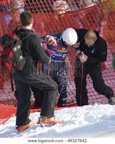 KITZBUHEL TIROL, AUSTRIA - JAN 24 2009; Kitzbuhel Tirol Austria,  competing in the Hahnenkamm race  the men's downhill ski race part of the Audi FIS Alpine Ski  World cup.