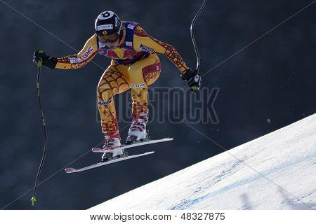 KITZBUHEL TIROL, AUSTRIA - JAN 24 2009; Kitzbuhel Tirol Austria, John Kuchera (CAN) competing in the Hahnenkamm race  the men's downhill ski race part of the Audi FIS Alpine Ski  World cup.