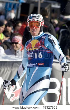KITZBUHEL TIROL, AUSTRIA - JAN 24 2009; Kitzbuhel Tirol Austria, Aksel Lund Svindal (NOR) competing in the Hahnenkamm race  the men's downhill ski race part of the Audi FIS Alpine Ski  World cup.