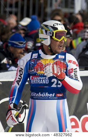 KITZBUHEL TIROL, AUSTRIA - JAN 24 2009; Kitzbuhel Tirol Austria, Yannick Bertrand (FRA) competing in the Hahnenkamm race  the men's downhill ski race part of the Audi FIS Alpine Ski  World cup.
