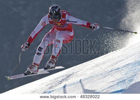 KITZBUHEL TIROL, AUSTRIA - JAN 24 2009; Kitzbuhel Tirol Austria, Michael Walchhofer (AUT) 2nd placed racer in the Hahnenkamm race  the men's downhill ski race part of the Audi FIS Alpine Ski  World cup.