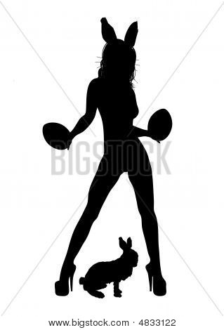 silhouette of sexy woman dressed as bunny on white poster