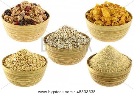 Collage of Breakfast Cereal Set: Crunchy Bircher Muesli, Oatmeal, Cornflakes, Corn Cereal, Germinated Brown Rice