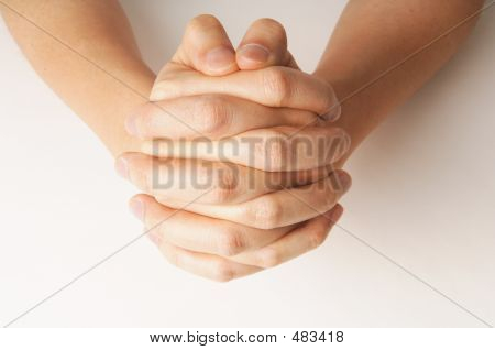 Close Up Of Hand Praying