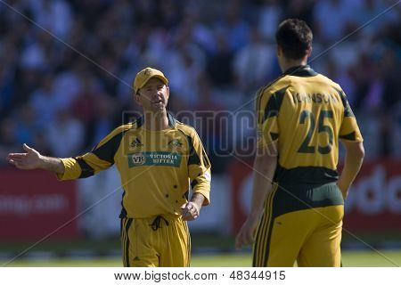 LONDON - 12 SEPT 2009; London England: Australia team captain Ricky Ponting gives his bowler Mitchell Johnson instructions during the Nat West, 4th one day international cricket match at Lords Cricket ground