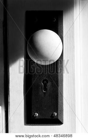 Black And White Closeup Of Door Knob