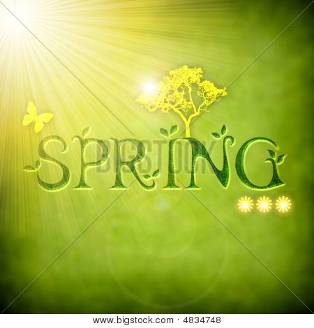Background Illustration With Spring Elements