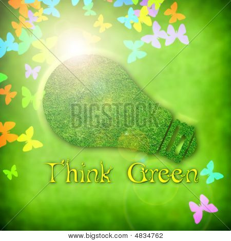 Ecological Spring Background With Light Bulb Illustration