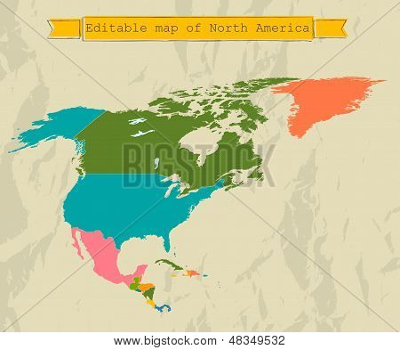 Editable North America  map with all countries.
