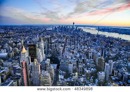 The New York City Manhattan W The Freedom Tower And New Jersey