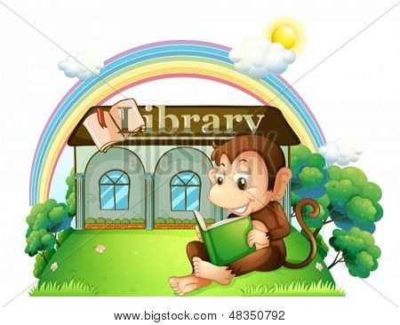 Illustration of a monkey reading a book outside the library on a white background