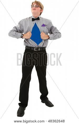 Geeky teen boy ripping shirt open. Superman concept. Clipping path over white. poster