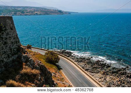 Mediterranean Sea And Fort Of Rethymno At Crete