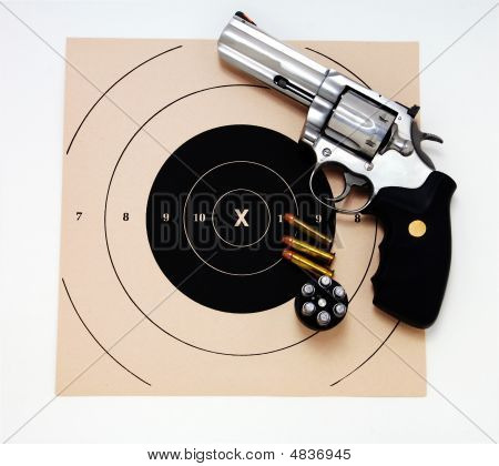 Magnum Revolver And Target