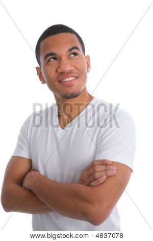 Natural Looking Smiling Young African American Male