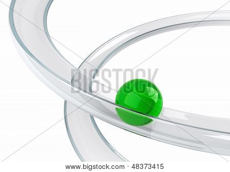 Abstract Illustration With Green Ball Rolling Down On The Helix Tray Made Of Transparent Glass Isola