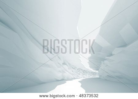 Cool Abstract Background. Bent White Corridor With Rugged Walls