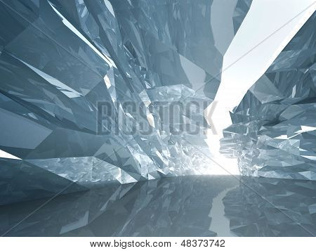 Abstract Cool Background. Bent Crystal Corridor With Rugged Walls And Glowing End