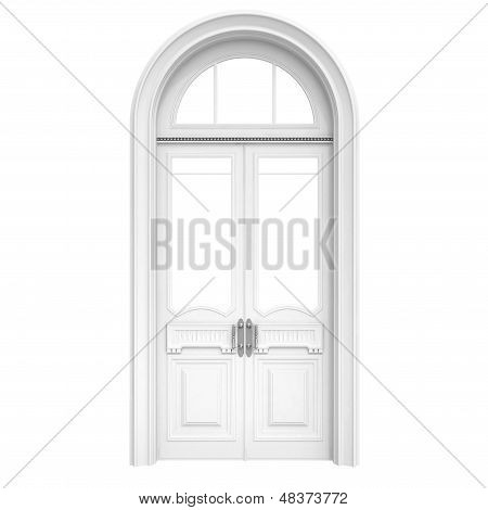 White Wooden Door Isolated On White