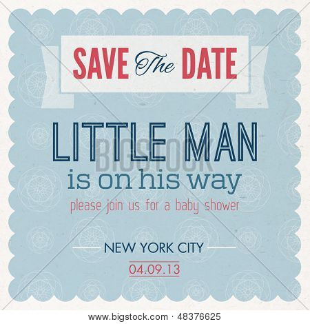 Baby Shower. It's A Boy Invitation Vintage Card