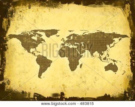 world map, continents from squares poster