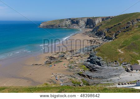 Trebarwith Strand beach Cornwall near Tintagel England UK poster