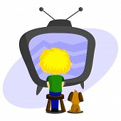 a dog and a boy watching television poster