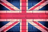 Flag of United Kingdom on the old brick wall poster