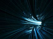Abstract background: fast motion in turning blue tunnel with the light at the end poster