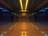 Abstract 3d interior with colorful neon lights in shining corridor poster