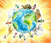 Children and animals around the earth.Picture  created with watercolors and colored pencils. poster