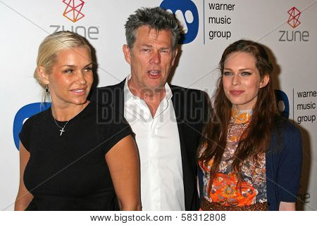 Sara Foster with David Foster and friend at the Warner Music Group 2007 Grammy After Party. The Cathedral,  Los Angeles, CA. 02-11-07