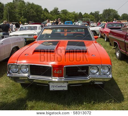 1972 Red With Black Stripes Olds Cutlass