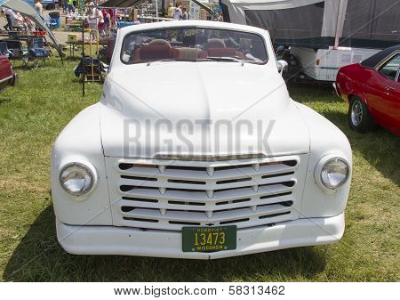 White Studebaker Convertible Front View
