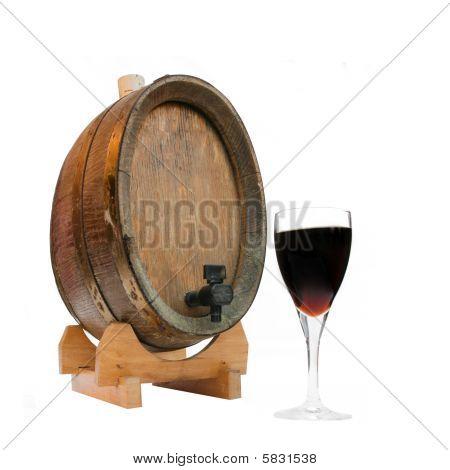 Wine Barrel And Glass Of Port
