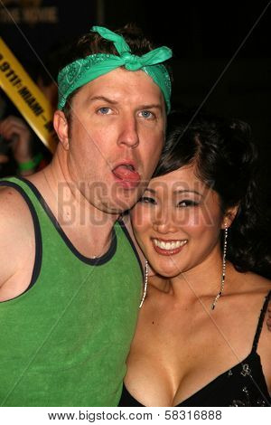 Nick Swardson and Cathy Shim at the premiere of