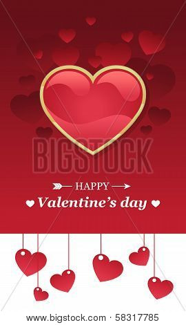 Valentine's day card with red heart