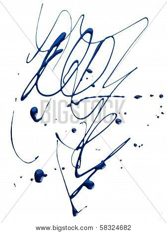 Blots of blue nail polish over white background poster