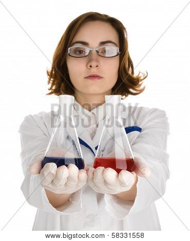 Scientist With Two Flasks