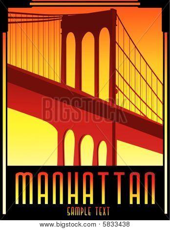 art deco bridge vector